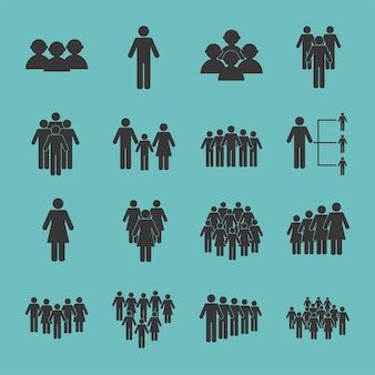 Zestien bevolkingssilhouetten pictogrammen