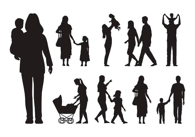 Zestien familiesilhouetten