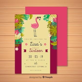 Zestien verjaardag tropische uitnodiging sjabloon