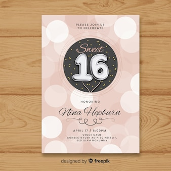 Zestien verjaardag zilveren ballonnen uitnodigingssjabloon