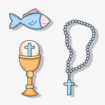 Zet chaliz met host en kruis rozenkrans met vis
