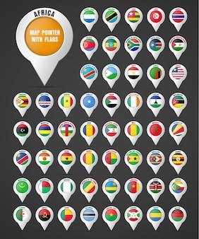 Zet de aanwijzer op de kaart met de vlag van de landen van afrika en hun namen.