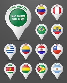 Zet de aanwijzer op de kaart met de vlag van zuid-amerikaanse landen en hun namen.