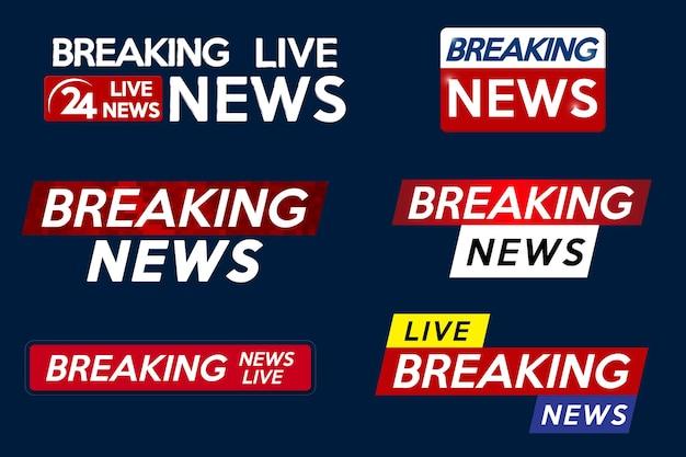 Zet de banner voor de breaking news-sjabloontitel op een blauwe achtergrond voor het tv-scherm op het scherm Premium Vector