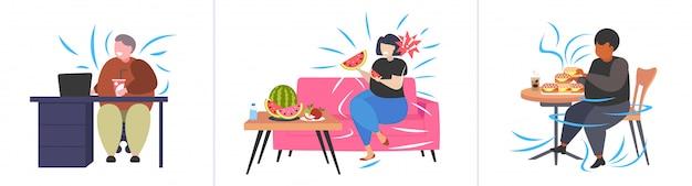 Zet dikke zwaarlijvige mensen in verschillende situaties overgewicht mix race mannelijke vrouwelijke karakters collectie zwaarlijvigheid ongezonde voeding concept