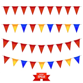 Zet gekleurde vlaggen op het touw. de elementen van je ontwerp. vector illustratie