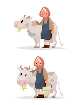 Zet grootmoeder met een koe. illustratie rustieke zuivelproducten.