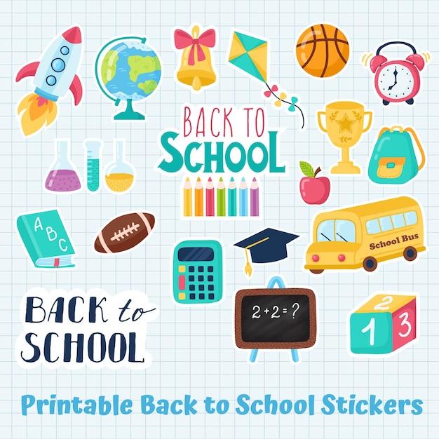 Zet terug naar schoolstickers. vector illustratie