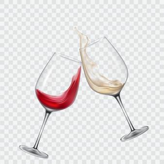Zet transparante glazen met witte en rode wijn