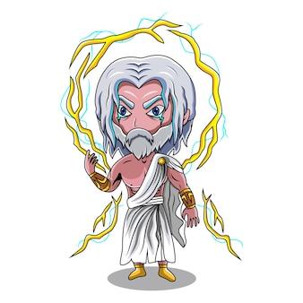 Zeus chibi mascotte logo ontwerp