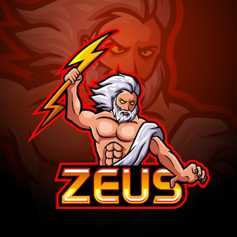 Zeus esport logo mascotte ontwerp