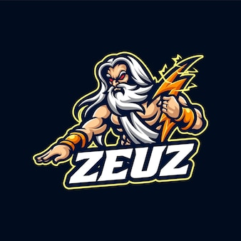 Zeus esport mascotte cartoon logo vector sjabloon