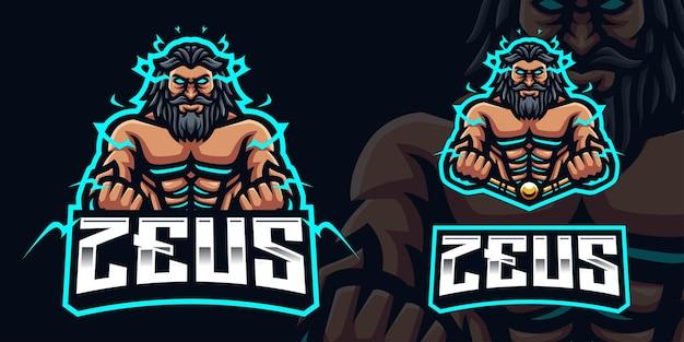 Zeus gaming mascot logo-sjabloon voor esports streamer facebook youtube