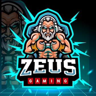 Zeus gaming mascotte esport logo ontwerp