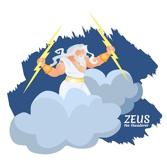 Zeus griekse god van thunder en lightning on cloud