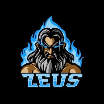 Zeus head e sport mascot-logo