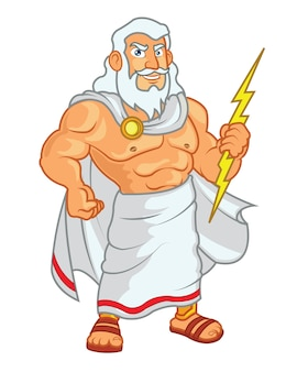 Zeus holding lightning cartoon mascot