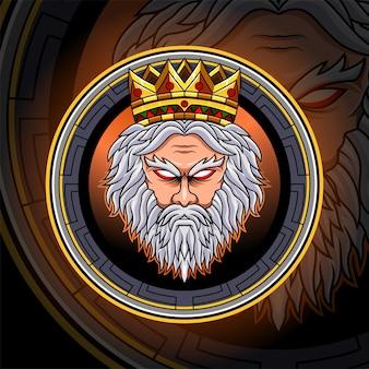 Zeus hoofd esport mascotte logo