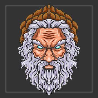 Zeus hoofd mascotte esport logo ontwerp