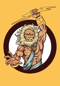 Zeus illustratie in de hand getekend