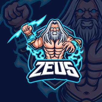 Zeus mascotte esport gaming logo ontwerp