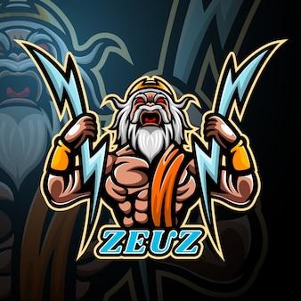 Zeus mascotte esport logo ontwerp