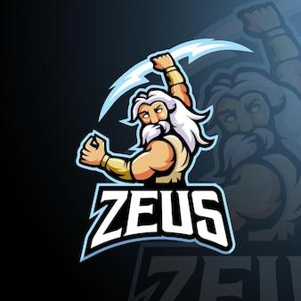 Zeus mascotte logo ontwerp vector met moderne illustratie concept stijl voor badge, embleem en t-shirt afdrukken. boze zeus-illustratie voor gaming, sport en team. Premium Vector