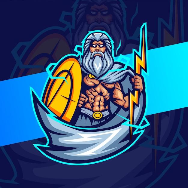 Zeus met donder mascotte esport logo-ontwerp