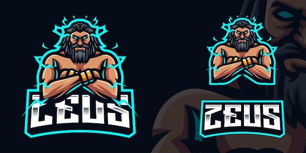Zeus met gekruiste armen gaming mascotte logo sjabloon voor esports streamer facebook youtube