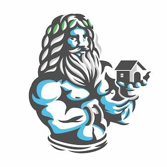 Zeus met huis aan de hand. illustratie logo voor huishouding.