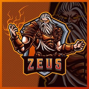 Zeus thunder god mascotte esport logo ontwerp illustraties vector sjabloon, storm god logo voor team game streamer youtuber banner twitch discord Premium Vector