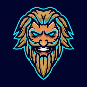 Zeus thunderbolt god mascotte hoofd logo sjabloon