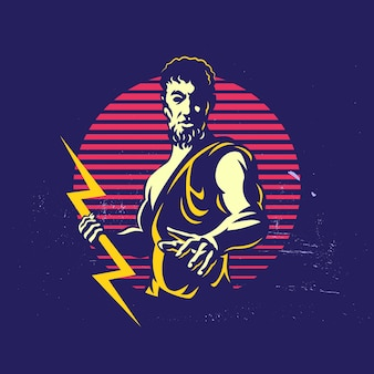 Zeus thunderbolt gods mascotte logo sjabloon