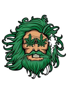 Zeus weed illustratie in de hand getekend