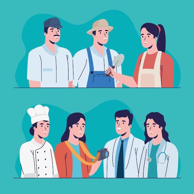 Zeven beroepen werknemers karakters
