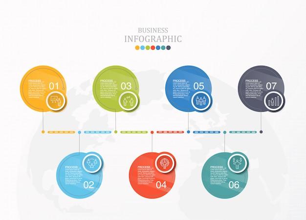 Zeven cirkels infographic en pictogrammen voor bedrijfsconcept.