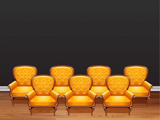 Zeven fauteuils met geel leer