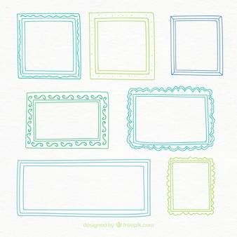 Zeven getrokken kleurrijke hand frames