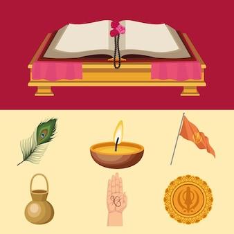 Zeven goeroe nanak jayanti iconen