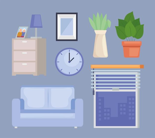 Zeven huispictogrammen voor meubels