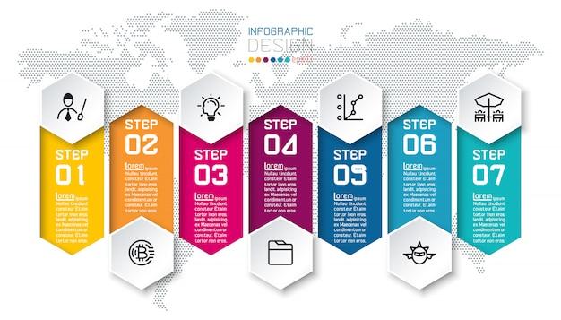 Zeven kleurrijke staven met zakelijke elementen infographic sjabloon