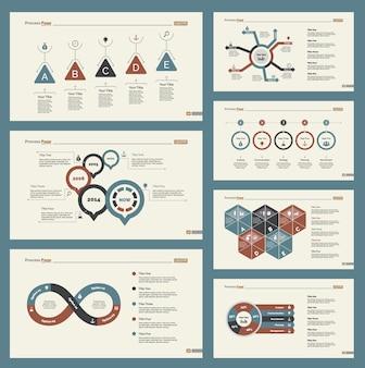Zeven marketing slide templates set