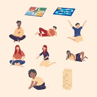 Zeven personen die bordspellen spelen