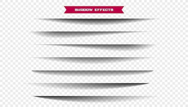 Zeven realistische brede vel papier schaduwen ingesteld