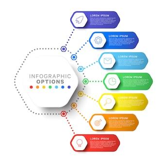 Zeven stappen lay-out infographic sjabloon met zeshoekige elementen