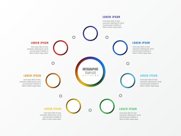 Zeven stappen ontwerp lay-out infographic sjabloon met ronde 3d-realistische elementen