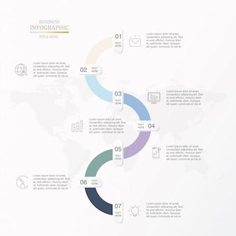 Zeven stappen voor zakelijke infographic.