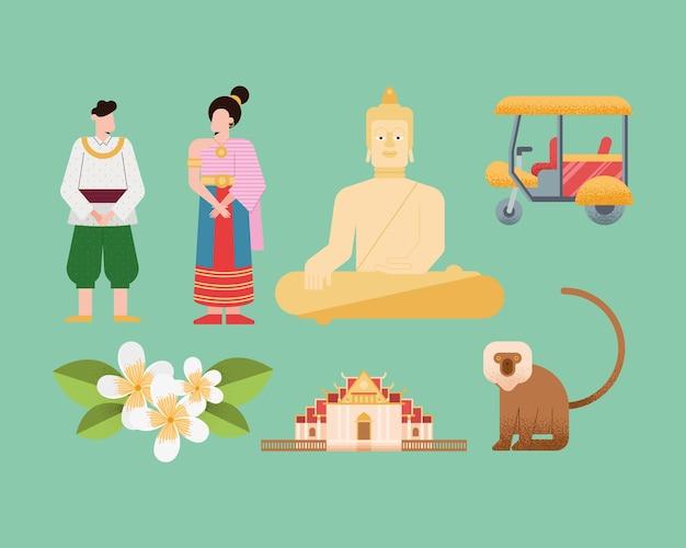 Zeven thailand land set pictogrammen