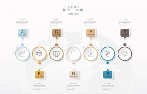 Zeven vak tekst infographics en wereld kaart achtergrond.