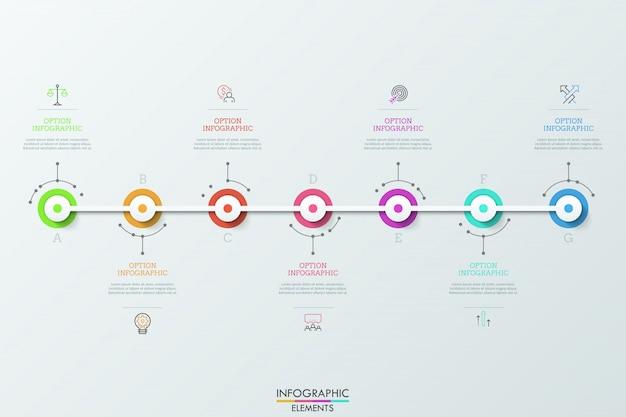Zeven veelkleurige ronde elementen verbonden door witte horizontale lijn, lineaire pictogrammen en tekstvakken. concept van zeven dagelijkse prestaties.